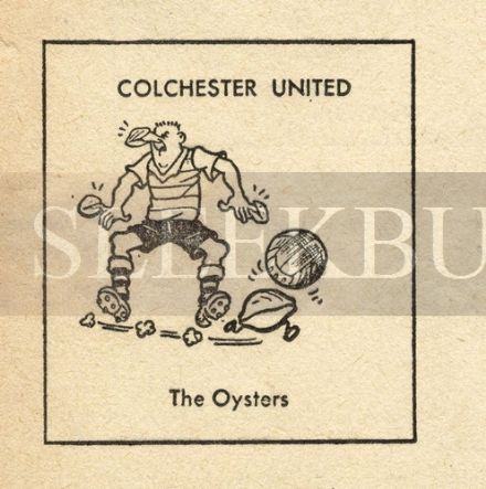 VINTAGE Football Print COLCHESTER - THE OYSTERS Funny Cartoon